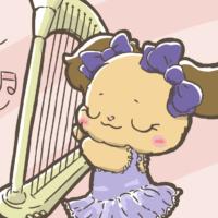 女の子気分でハープを弾くイオ