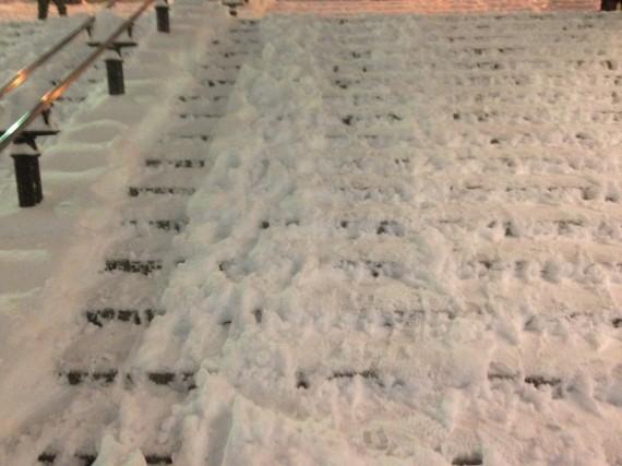 雪に埋もれた多摩センター駅前の階段