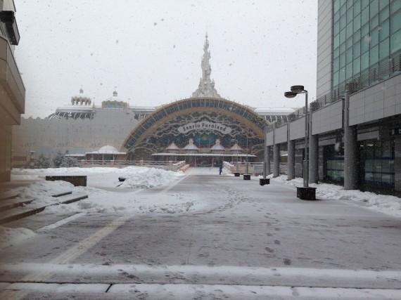 雪で白くなりだしたピューロランドへの道