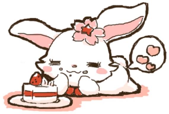 ケーキを食べながら満足に浸るルビー