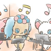 サフィーとガーネットとラリマーが演奏する様子