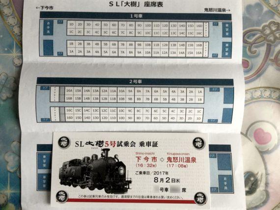 SL大樹の座席表と乗車証