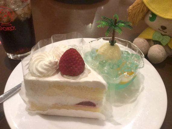 ショートケーキとゼリーの1皿目