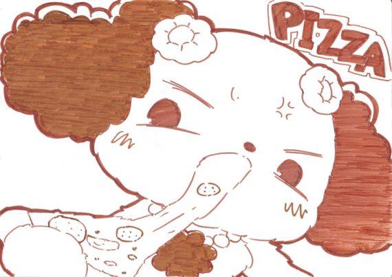 ピザに食らいつくプレーズ