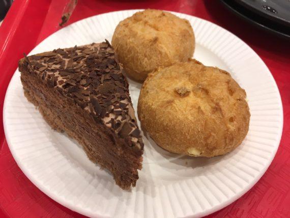 チョコレートケーキとシュークリーム