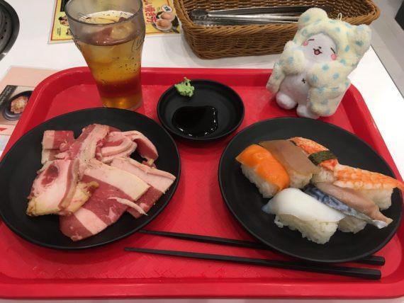 最初に盛り付けたお肉とお寿司