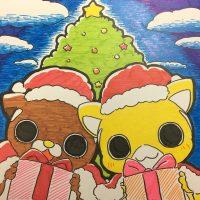 クリスマスツリーと一緒に映るムッちゃん達