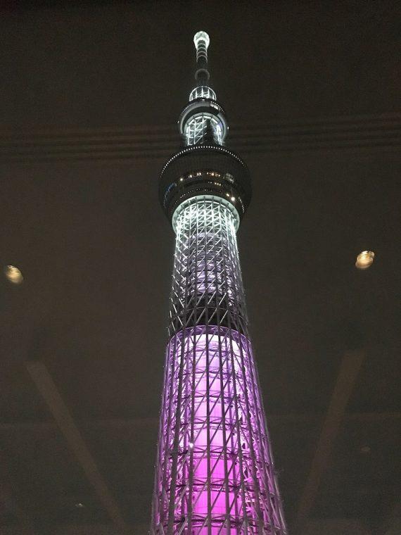 夜に輝く東京スカイツリー