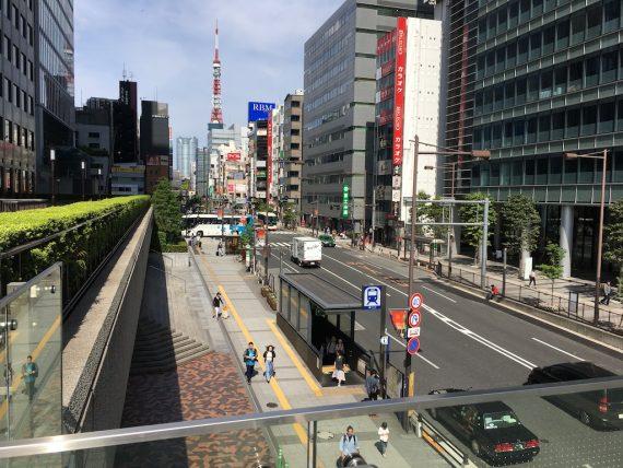 大門駅から東京モノレールの浜松町駅までの道のり