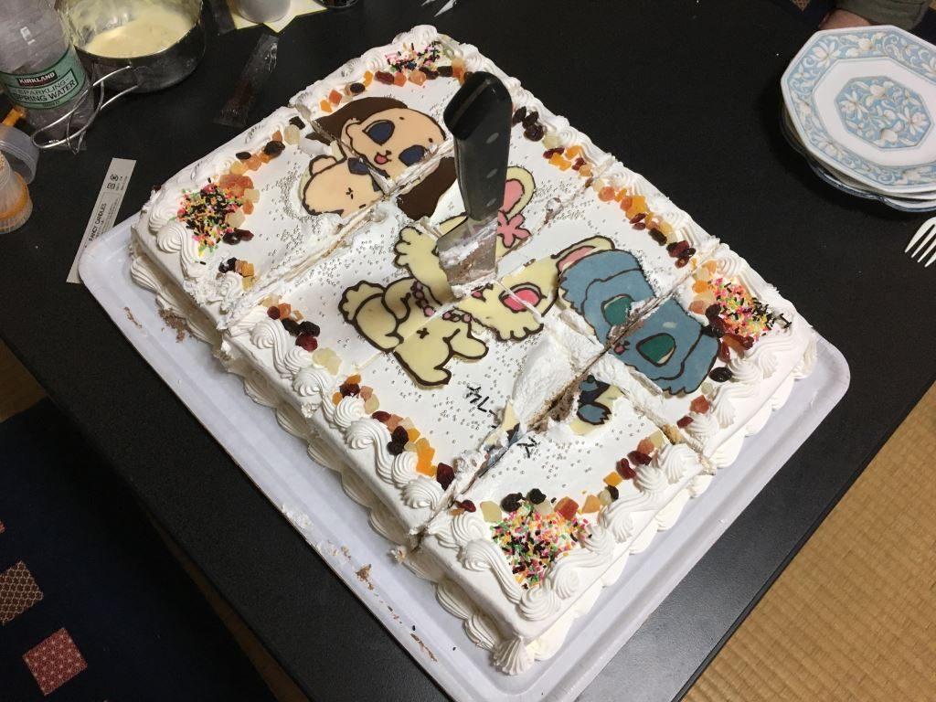 ケーキをカットし終えたよ