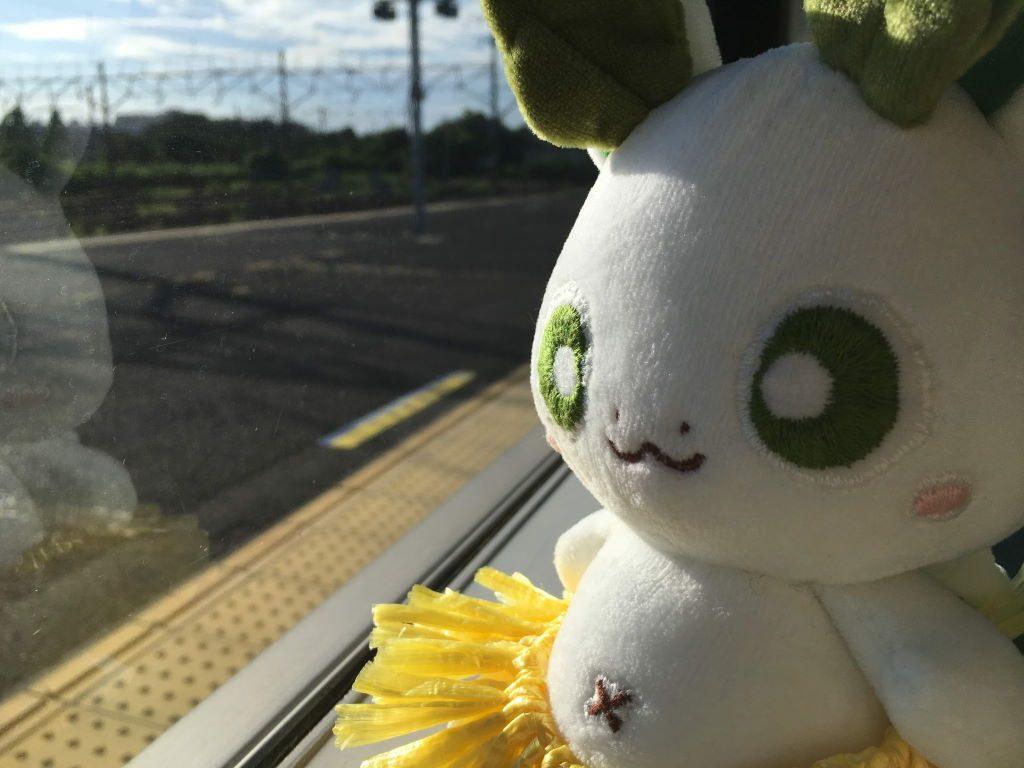 久里浜駅での電車から窓を眺めるカッシーくん