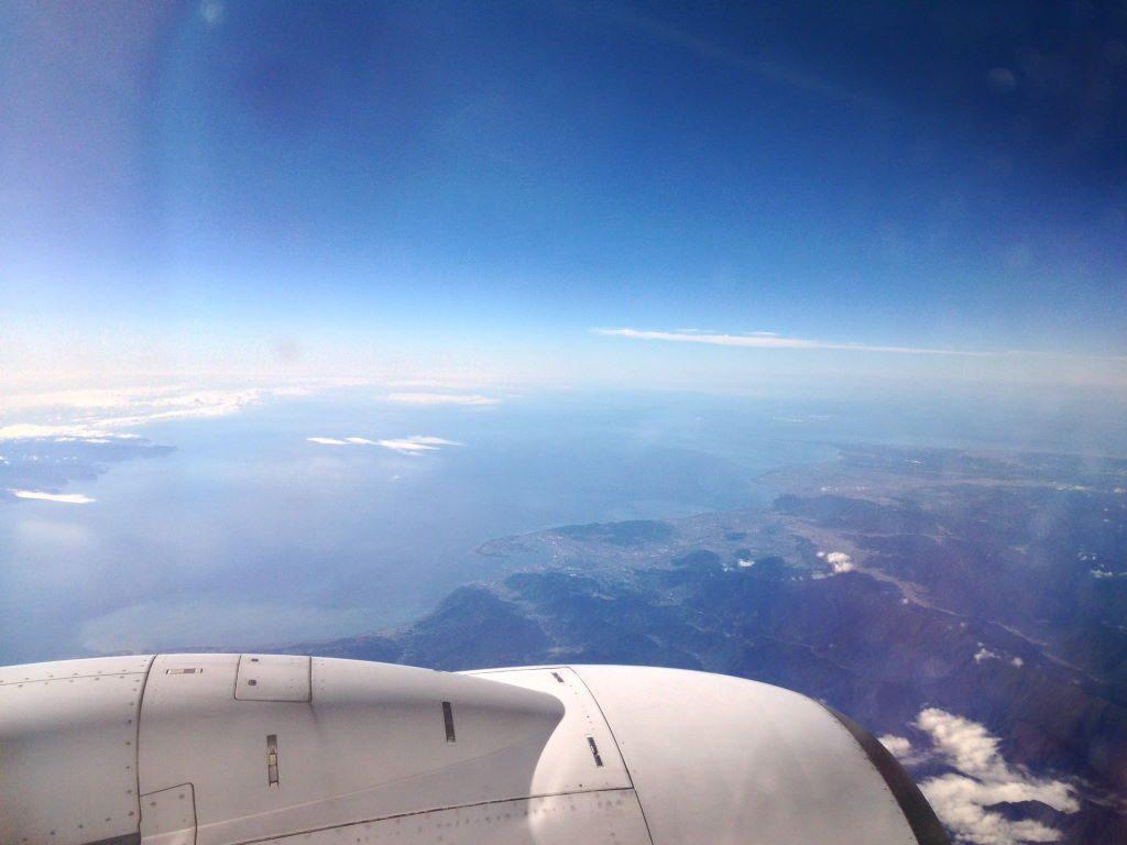 大分空港行の機内から見た外の様子
