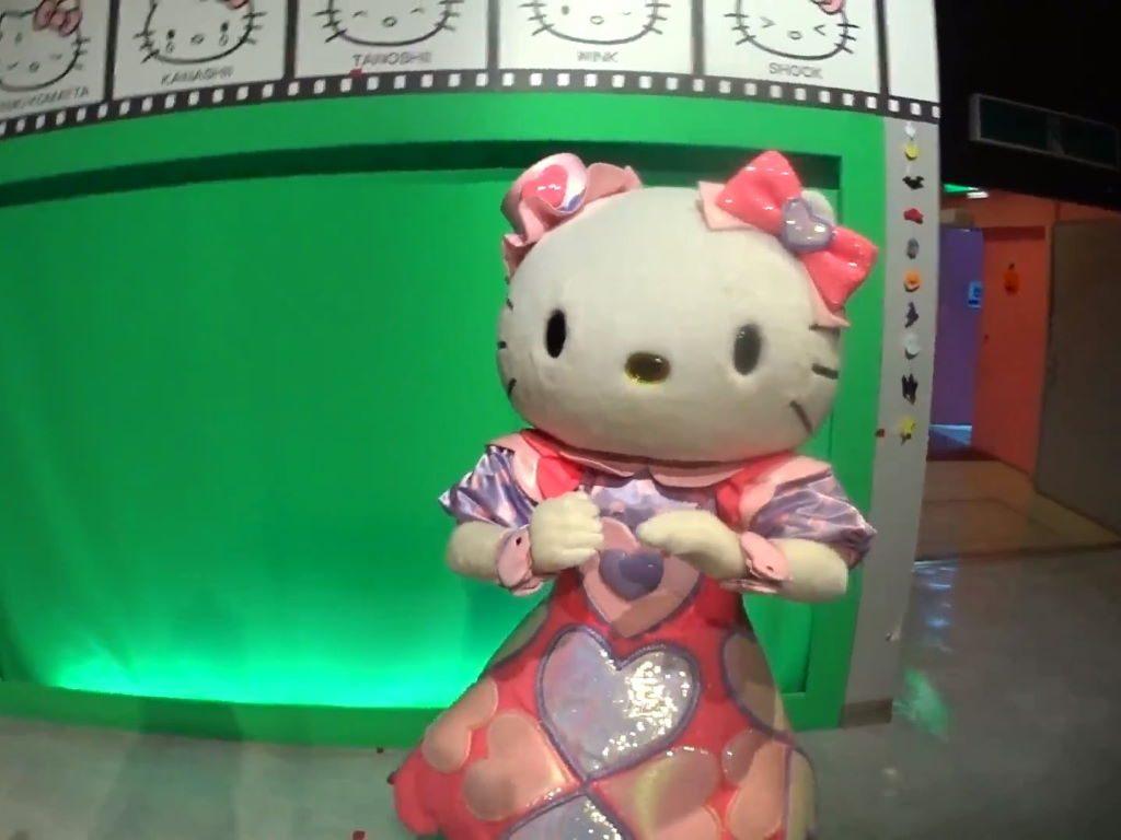 カメラに驚くキティちゃん