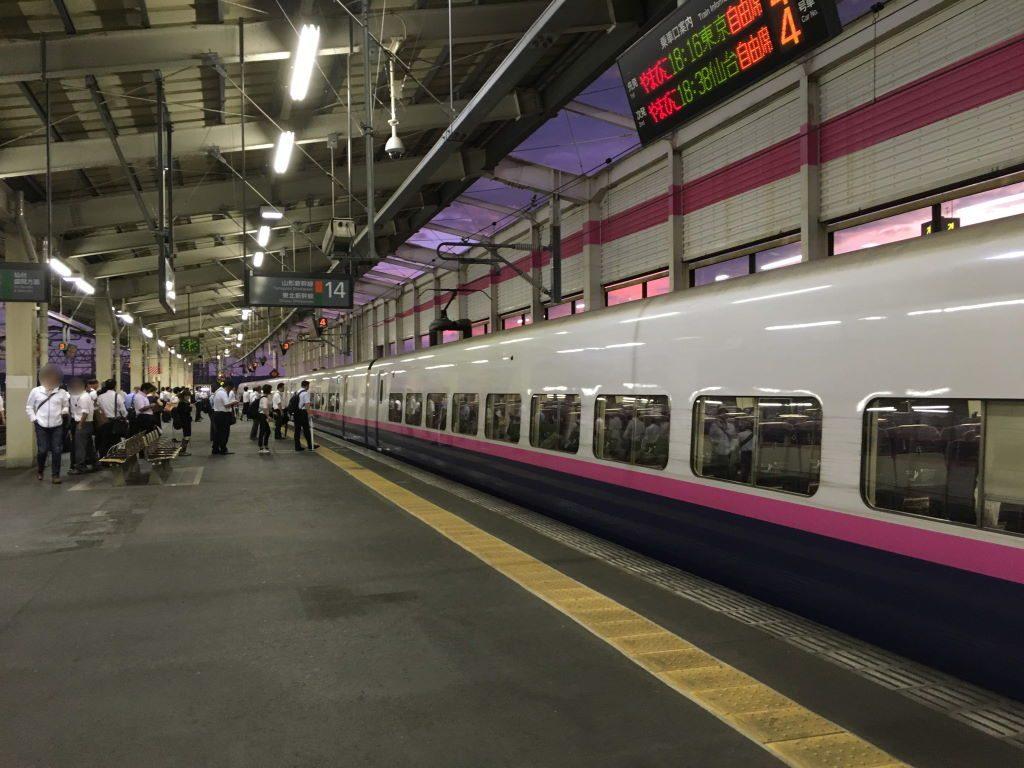 乗る予定の新幹線が到着