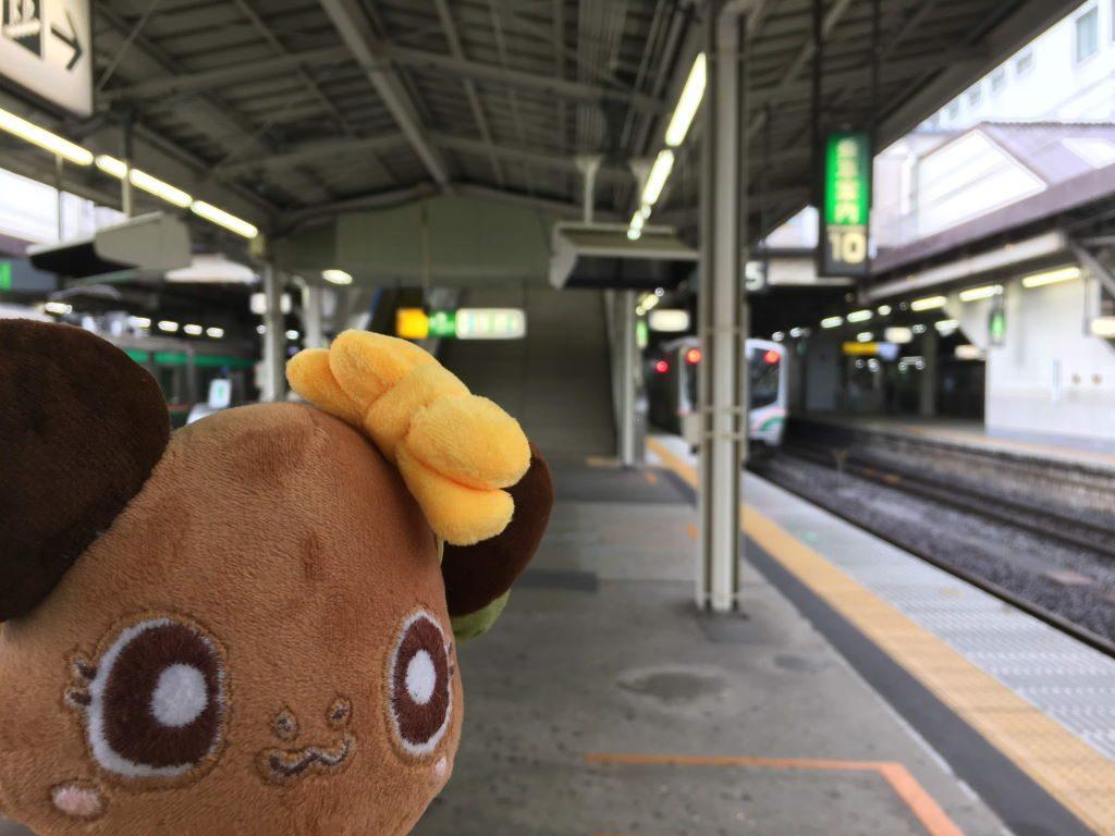 仙台駅のホームとボタンちゃん