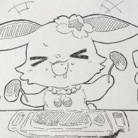 豪華なステーキを食べるルビー