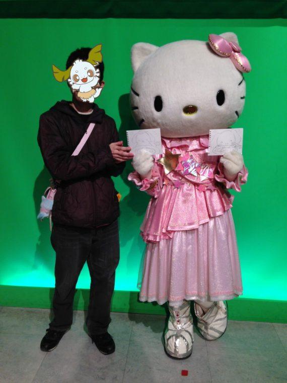 キャラクターメニュー総選挙のプリンくん達の絵を持つオレとキティちゃん