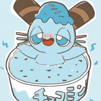 チョコミントアイスに浸かるミントくん