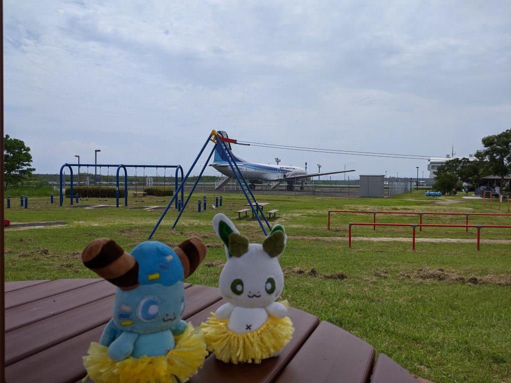 空港公園に保存された飛行機とカッシーくん
