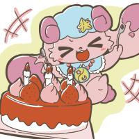バースデーケーキを見て騒ぐアンビちゃん