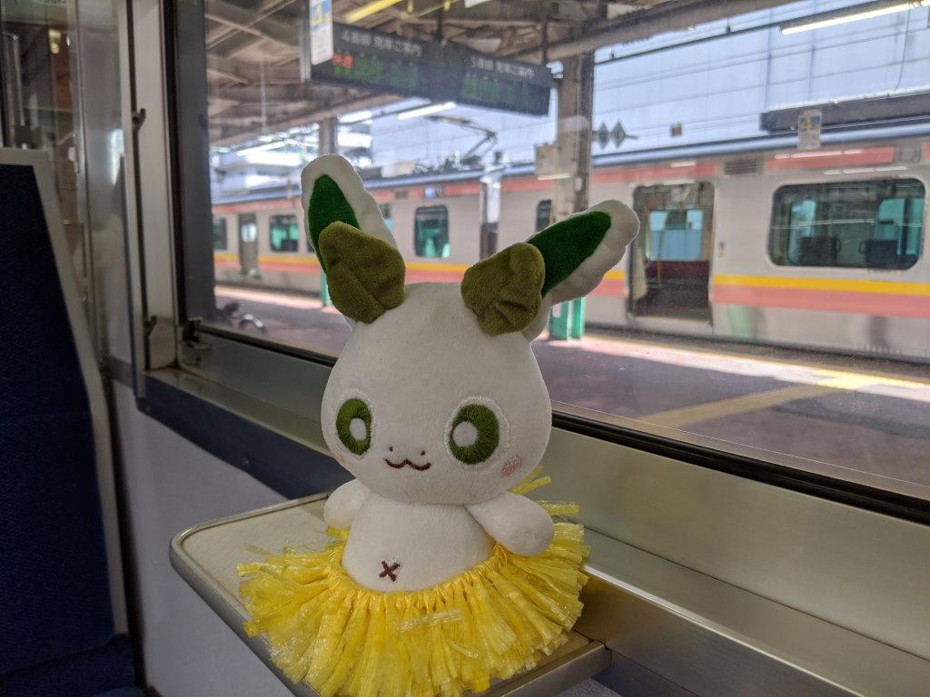 長岡駅で185系に乗るカッシーくん