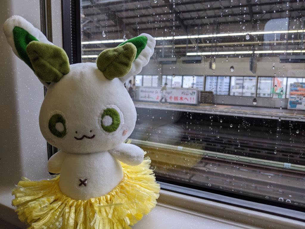 新幹線の窓際に座るカッシーくん