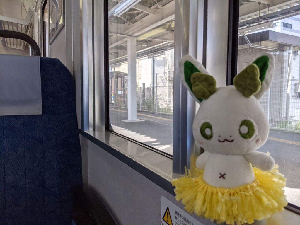 掛川駅での電車の車内とカッシーくん