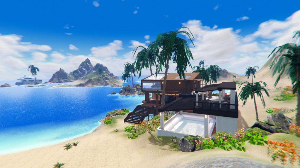 高いところから眺める海の家