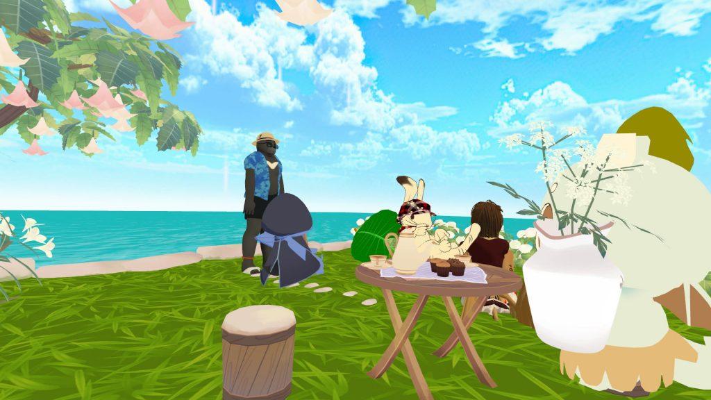 テーブルにお茶菓子も用意されている贅沢な島