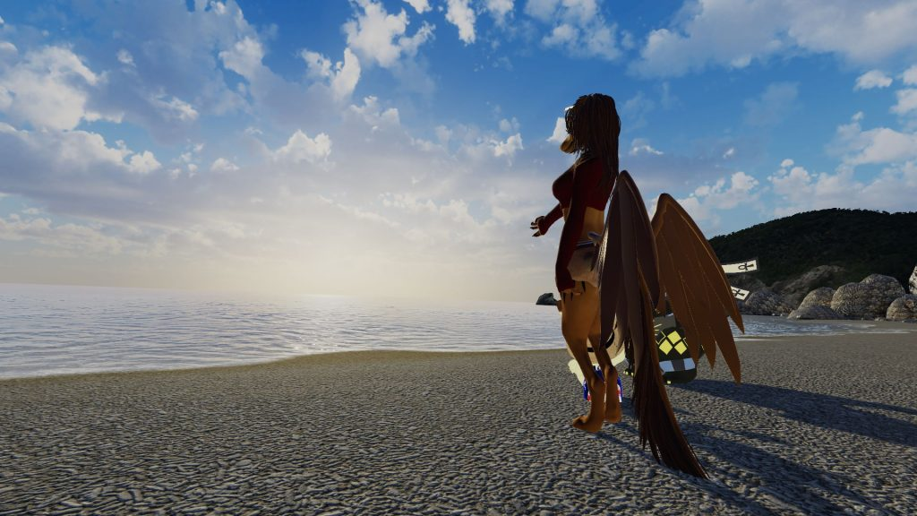 海と砂浜と先を眺めるみんな