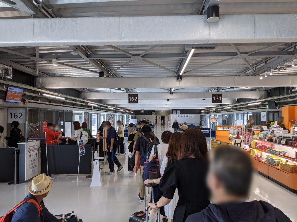 福岡空港行きの待ち列