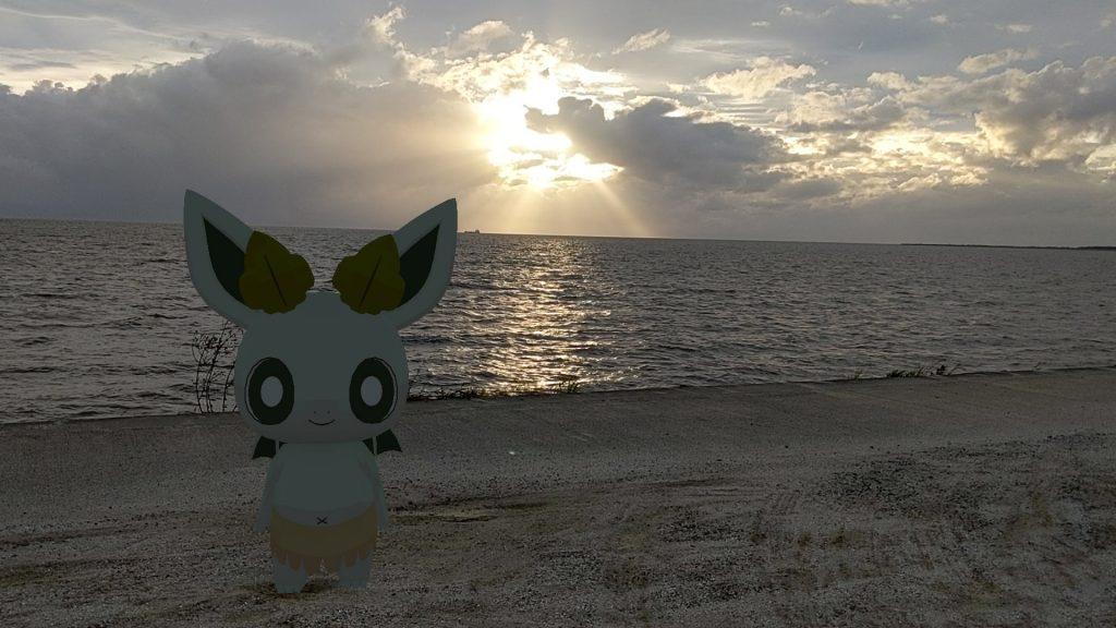 夕焼けの海とカッシーくん